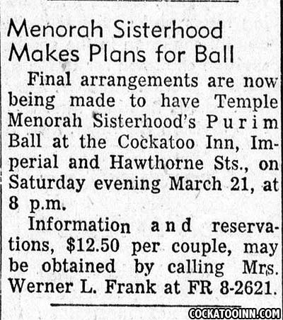 Newspaper clipping of Purim Ball at Cockatoo Inn